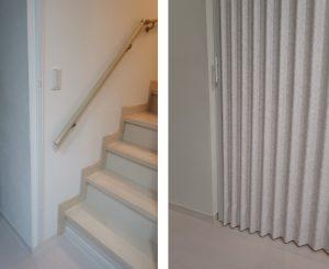 階段 アコーデオンカーテン 断熱