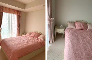 ギャザーバランス 寝室 ピンク カーテン